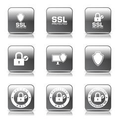 Protection Web Internet Square Vector Black Button Icon Design S