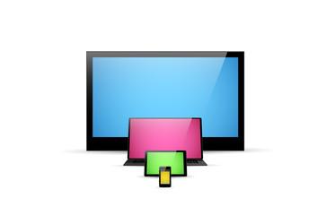 TV screen, notebook, tablet, smartphone illustration, easy edita