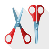 Scissors with long shadow on white background