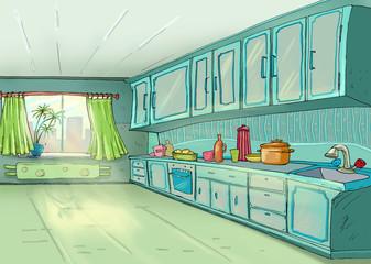 Kitchen.Dining Room. Sunlight.Illustration.