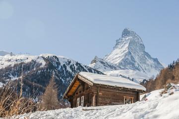 Zermatt, Dorf, Alpen, Berghütte, Bergbauer, Winter, Schweiz