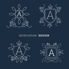 simple floral monogram line art style logo vector illustration