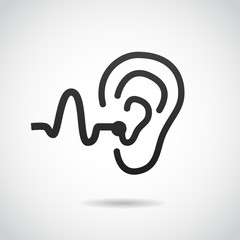 Hearing support vector icon.