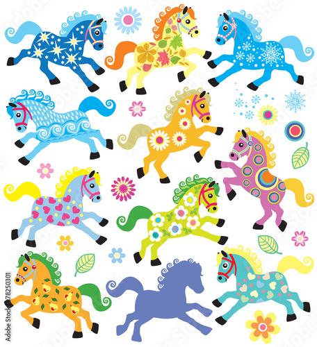 Fototapeta set with decorative horses