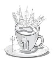 Travel with coffee. Cup of coffee decorated with world sights
