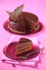 Piece of Chocolate Cherry Mousse Cake