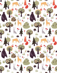 Vector pattern with animals and trees