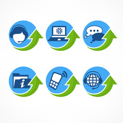 Customer service icons in blue with green arrow, vector