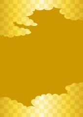市松模様の雲と黄色い背景