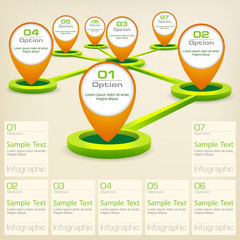 Infographic concept elements with map pointer and text, vector