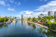 Leinwanddruck Bild - luxury houses at the canal in Miami Beach with boats
