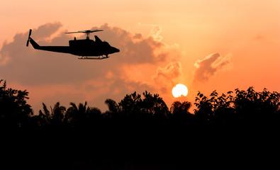 sunrise in the morning at Nakhonsithammarat and helicopter