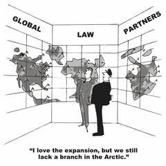Cartoon of law firm global expansion.