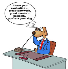 Cartoon of business performance review... you're a good dog.