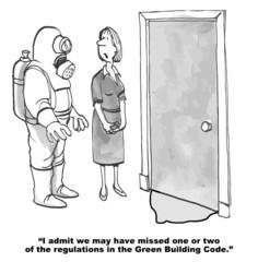 Cartoon of businesswoman with sludge under door, Building Code.