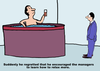 Cartoon of businessman relaxing at work in jetted tub.