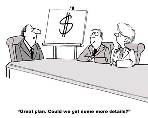 Cartoon of businessman presenting one page plan, making money.