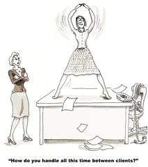 Cartoon of businesswoman dancing on top of her desk.
