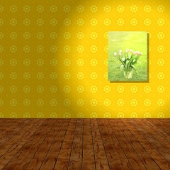 Empty room with yellow wall, wooden background and hook picture.
