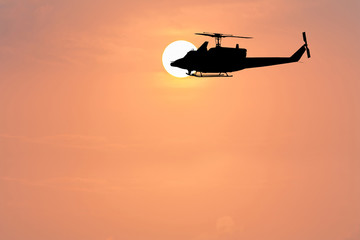 sunrise in the morning and helicopter