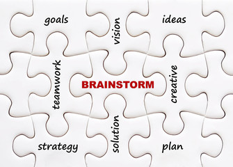 Related brainstorming words on jigsaw puzzle background