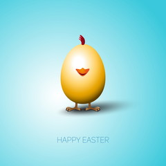 Simple vector Happy Easter card with bright brown egg on the col