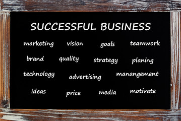 Sucessful business words on chalkboard, business concept