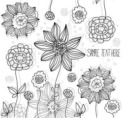 stylized black and white background with flowers