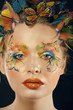 woman with summer creative make up like fairy butterfly closeup