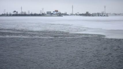 Ice melting on water storage reservoir near Kiev, Ukraine