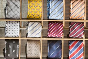silk tie on display