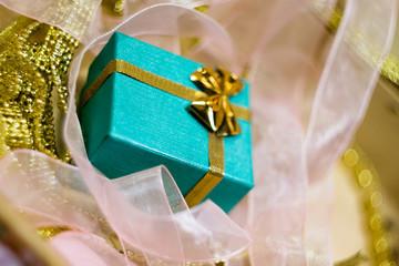 Green Gift Box and Pink Ribbons