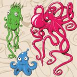 Deep sea monsters. Vector illustration