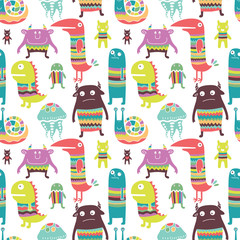 Funny monsyers seamless pattern