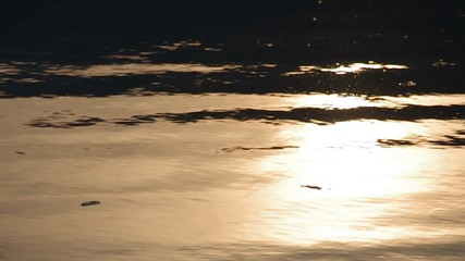 Reflection of the sunset in the water with wave in the evening