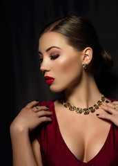 Romantic sexy portrait of glamour girl with red lips