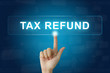 hand press on tax refund button on touch screen