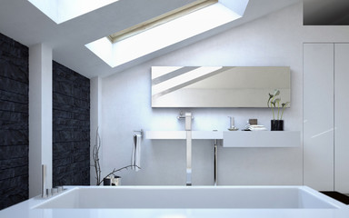Modern Architectural White Bathroom Design
