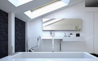 Modern Architectural White Bathroom Design