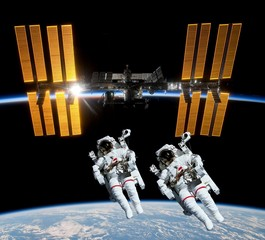 Astronauts Satellite Space Station