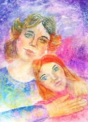 "Child's Artwork - ""Portrait of a mother with daughter"""
