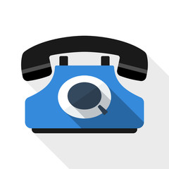 Retro telephone flat icon with long shadow on white background