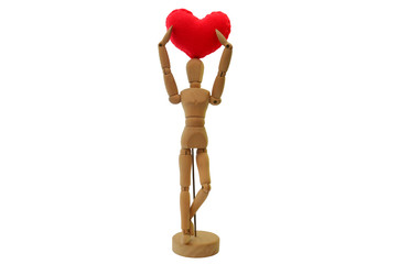 Human wooden figure with Heart model made from velvet