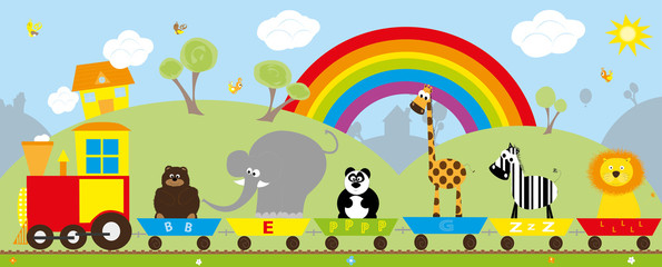 train with animals on the background with the rainbow