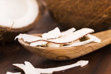 Close up of sliced coconut