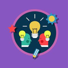 Creative design process concept with web studio development