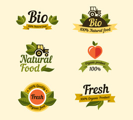Set of vintage style elements for labels and badges for organic