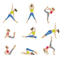 Vector yoga illustration. Surya Namaskara. Yoga set. Yoga
