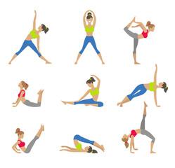 Vector yoga illustration. Surya Namaskara. Yoga set. Yoga