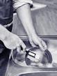 Man washing a dishes